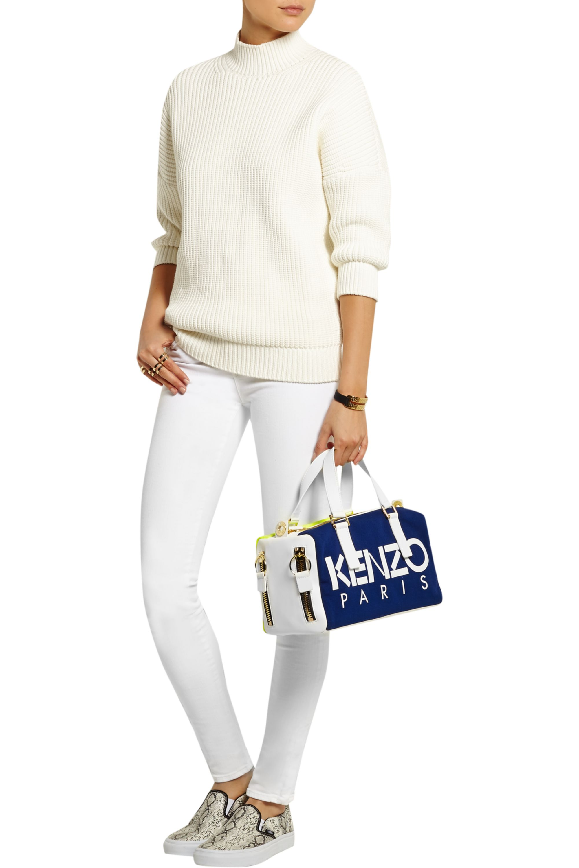 KENZO Neon canvas and leather tote