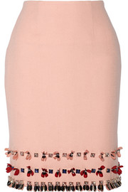 Leah embellished wool-crepe skirt