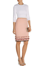 Mother of Pearl Leah embellished wool-crepe skirt