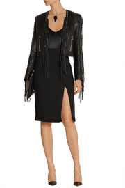 Fringed leather biker jacket