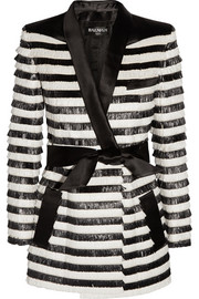 Satin-trimmed striped raffia jacket