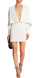 Cape-effect crepe mini dress