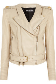 Rib-paneled leather biker jacket