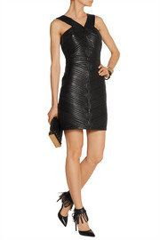 Quilted leather mini dress