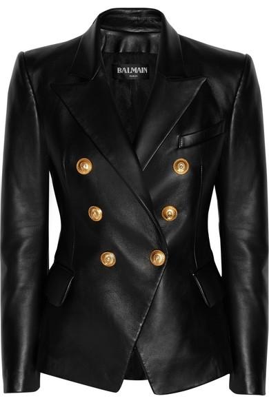 Balmain | Double-breasted leather blazer