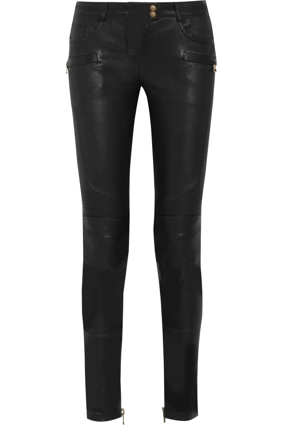 Balmain Stretch-Leather Skinny Pants, Black, Women's, Size: 42