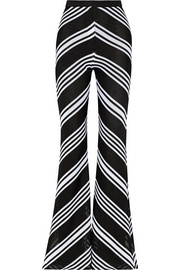Balmain Chevron-patterned knitted flared pants