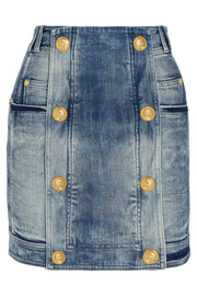 Distressed stretch-denim mini skirt