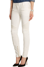Moto-style low-rise skinny jeans