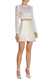 Balmain Cropped stretch-lace top