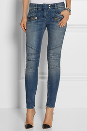 Balmain Moto-style distressed low-rise skinny jeans