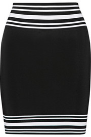 Striped stretch-knit mini skirt