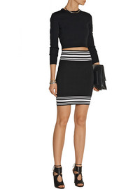 Balmain Striped stretch-knit mini skirt