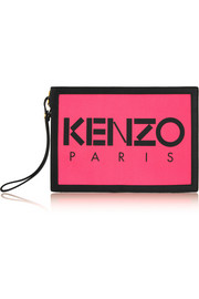 Neon canvas and leather pouch
