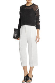 Cropped cotton-piqué wide-leg pants