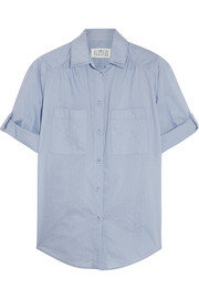 Pinstriped cotton-blend poplin shirt