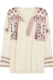 Vicky embroidered cotton-muslin top