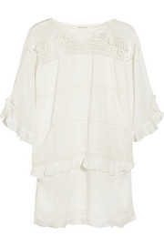 Cassy crochet-paneled cotton-blend voile mini dress
