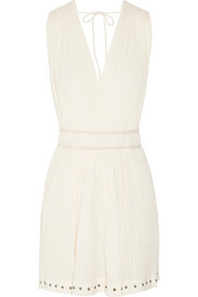 Tiara plissé cotton-muslin mini dress