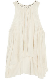 Ted embellished plissé cotton-gauze top