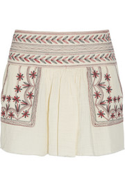 Vera embroidered cotton-muslin mini skirt
