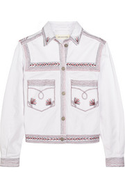 Abril embroidered stretch-denim jacket