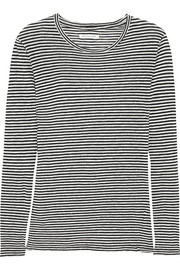 Aaron striped cotton and linen-blend jersey top