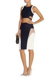 Jonathan Simkhai Cropped color-block ribbed stretch-jersey top