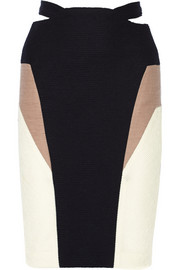 Color-block ribbed stretch-jersey skirt