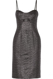 Cutout metallic jacquard dress