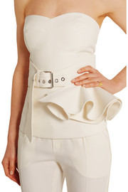 Ruffled wool-blend gabardine waist belt