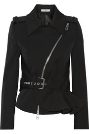 Ruffled stretch wool-blend twill jacket