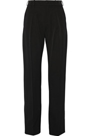 Stretch wool-blend high-rise pants