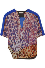 Printed silk-chiffon top