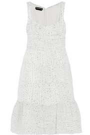 Ruched organza-bouclé dress