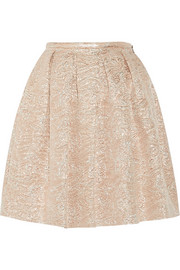 Swan pleated metallic brocade skirt