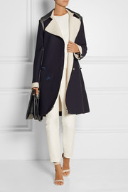 Birkhoff leather-trimmed crepe coat