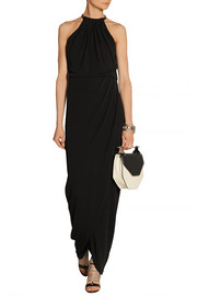 Iva faux leather-trimmed jersey-crepe maxi dress