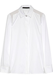 Reka silk-organza-paneled cotton-blend poplin shirt