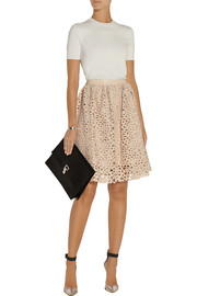 Resi embroidered faux leather skirt