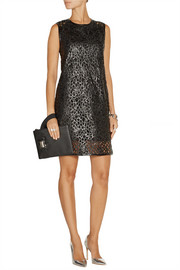 Karl Lagerfeld Resi embroidered faux leather mini dress