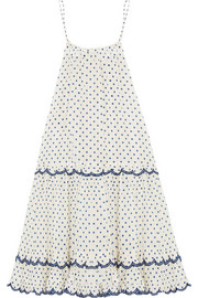 Ceramic polka-dot cotton and silk-blend dress