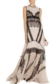 Antonio Berardi Lace-paneled silk-chiffon gown