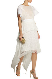 Antonio Berardi Lace-appliquéd silk-chiffon dress