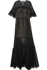 Silk-chiffon and lace gown