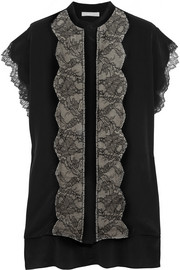 Lace-paneled silk crepe de chine top