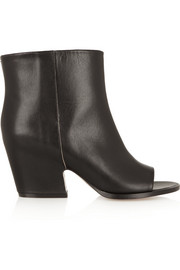 Open-toe leather ankle boots
