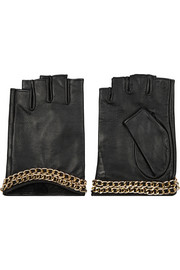 Karl Lagerfeld Chain-embellished leather fingerless gloves