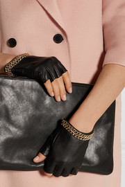 Chain-embellished leather fingerless gloves