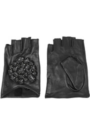 Embellished leather fingerless gloves